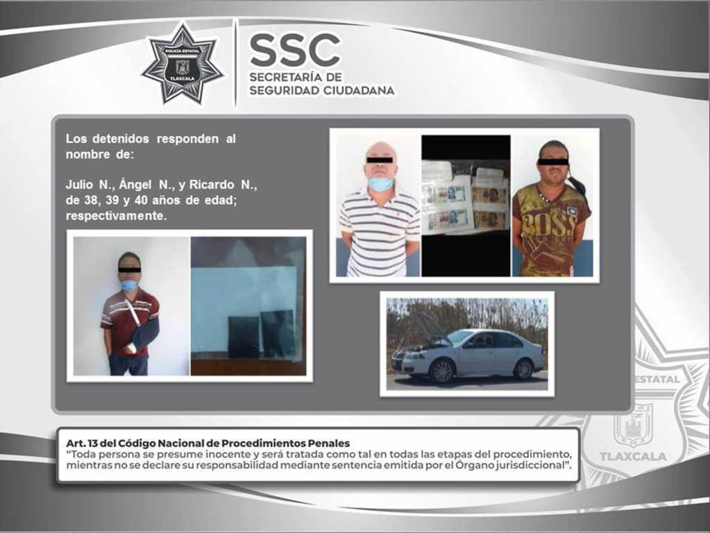 Detienen en Tenancingo a tres sujetos y asegura sustancias ilegales