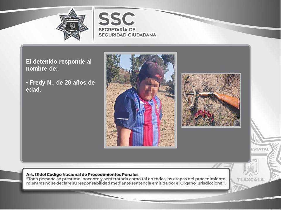 Policía Estatal detiene en Cuapiaxtla a una persona con arma de fuego