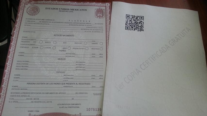 Expiden de manera gratuita la primera copia certificada de acta de ...