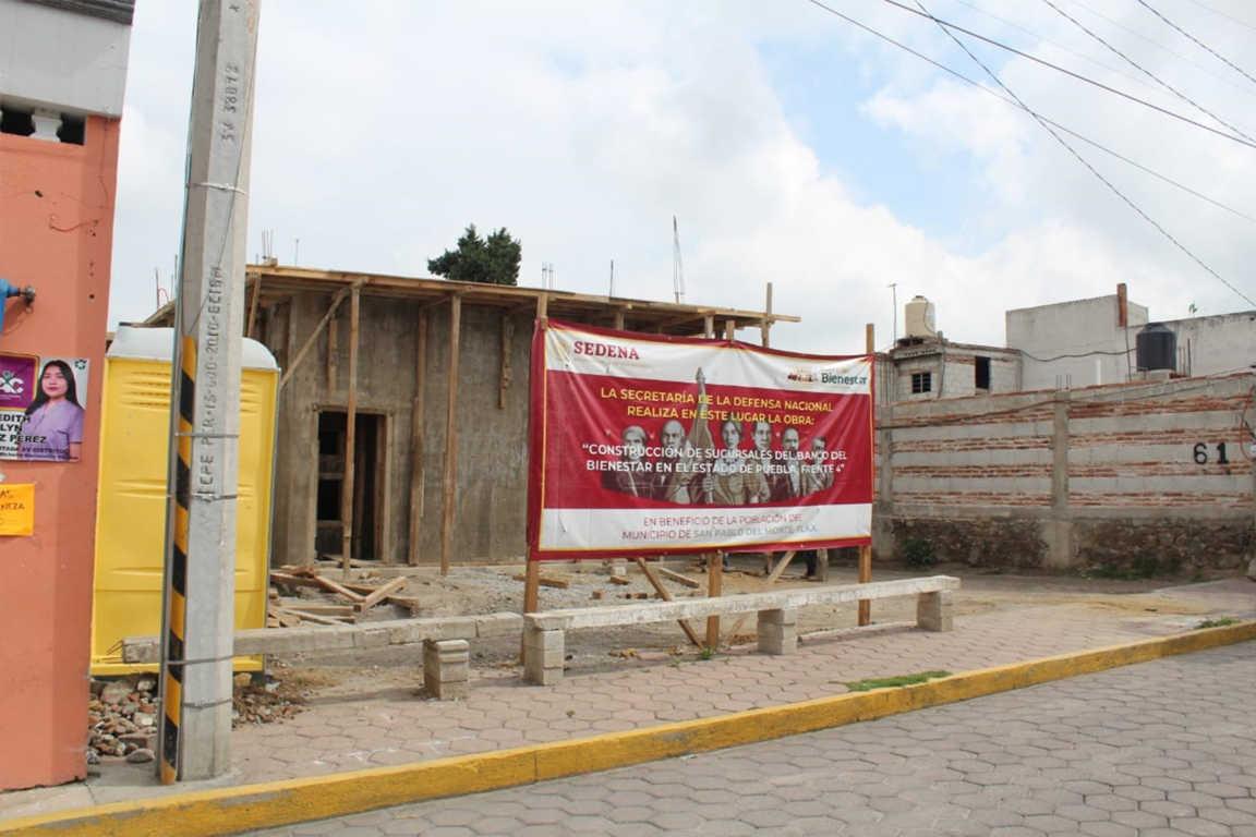 Continua la construcción del Banco Del Bienestar en San Pablo Del Monte