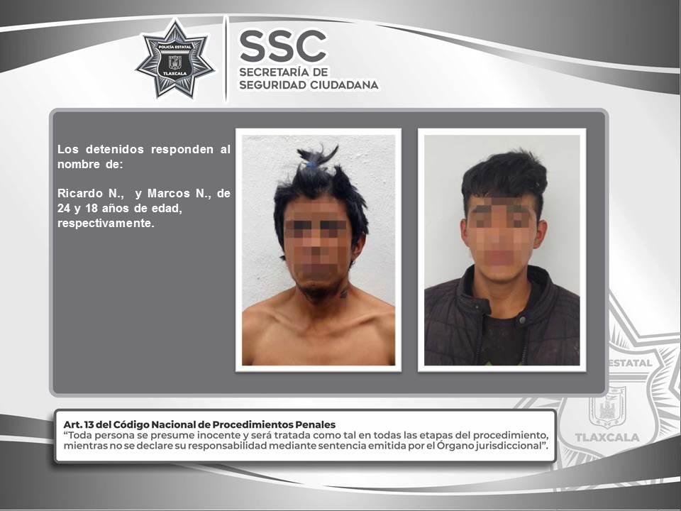 La SSC detiene en Calpulalpan a dos personas por el probable delito de robo