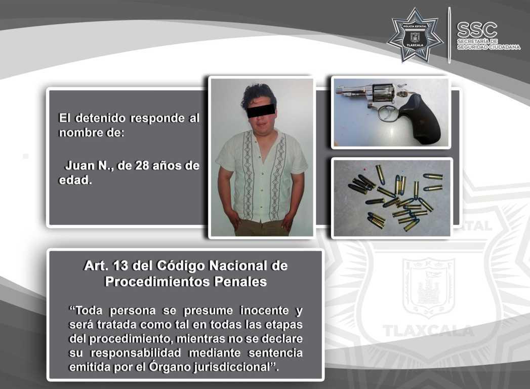 Policía estatal detiene en Zacatelco a un sujeto con arma de fuego