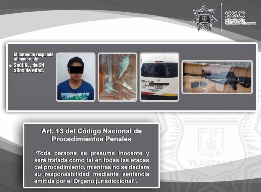 La SSC detiene en Chiautempan a una persona con un arma de fuego y droga
