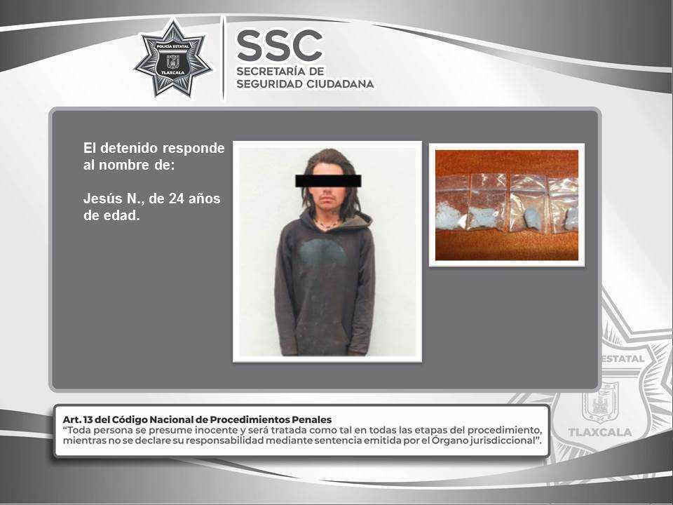 La SSC detiene en Huamantla a una persona por posesión de metanfetamina