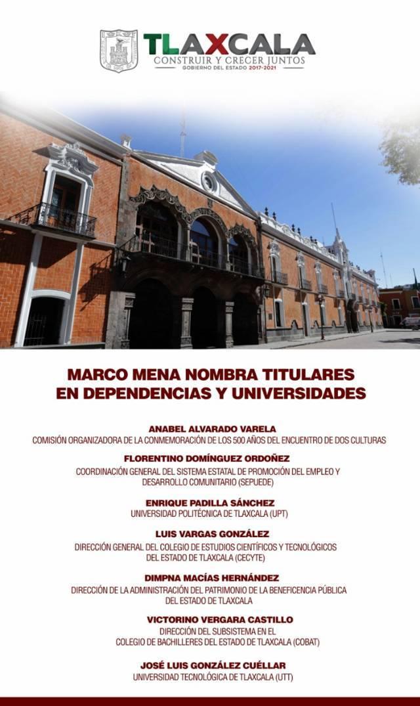Marco Mena nombra titulares en dependencias y universidades