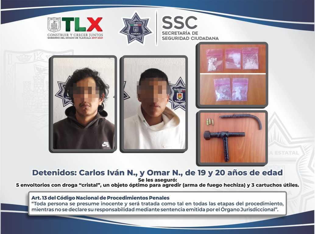 Detienen en Xaloztoc a dos personas y asegura arma de fuego y droga