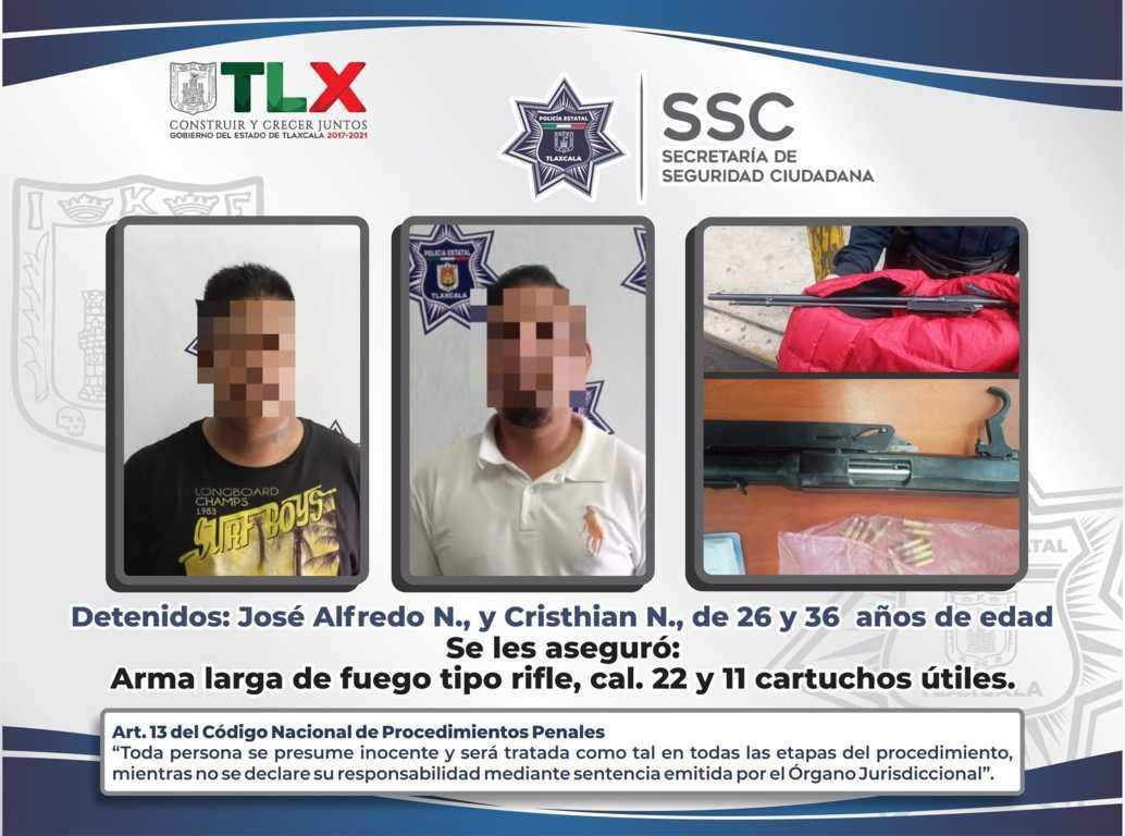 La SSC detiene a dos sujetos en Tzompantepec y asegura arma de fuego