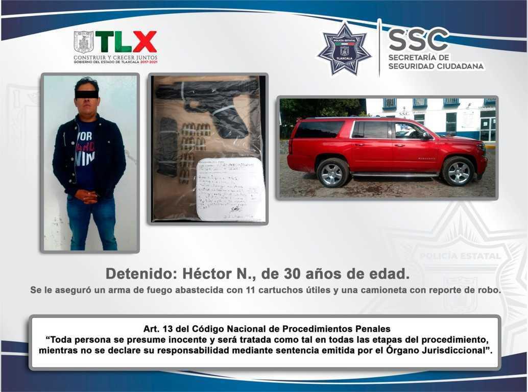 La SSC detiene en Ixtacuixtla a sujeto con arma de fuego y recupera vehículo robado