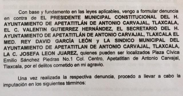 Por falsear información alcalde de Apetatitlan es denunciado ante la PGR