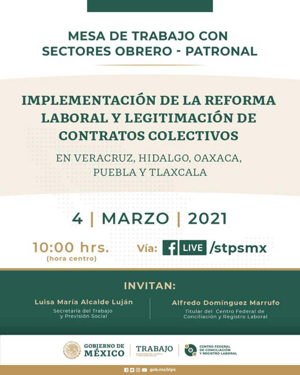 Participará SEGOB en mesa de trabajo sobre reforma laboral convocada por la STPS