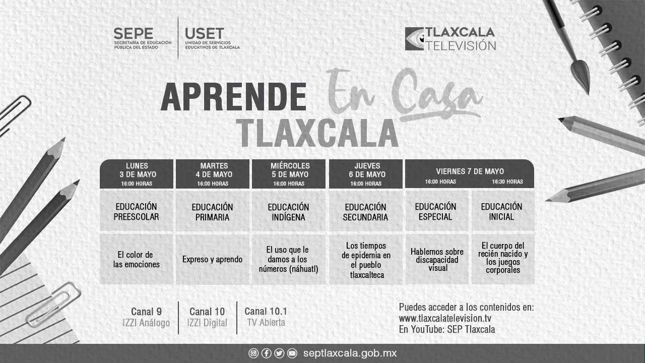 Presentan barra temática de Aprende En Casa Tlaxcala del 3 al 7 de Mayo