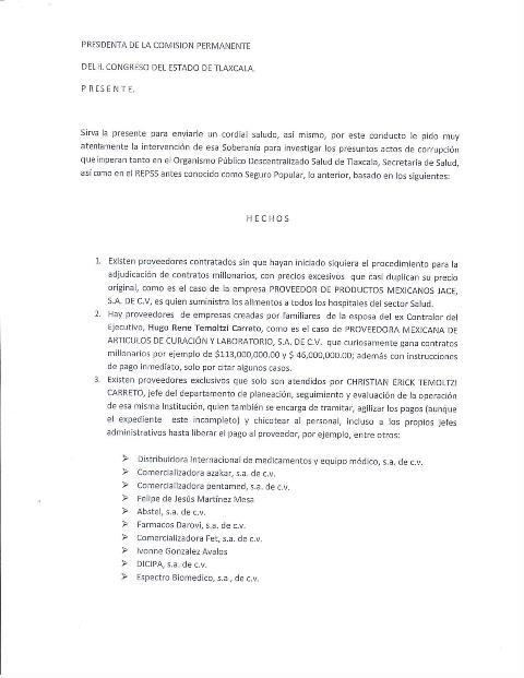 Investigará Congreso presunta corrupción al interior de la SESA