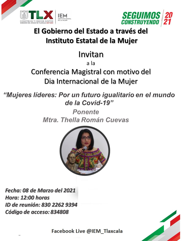 Conmemorará IEM el Día Internacional de la Mujer con conferencia virtual