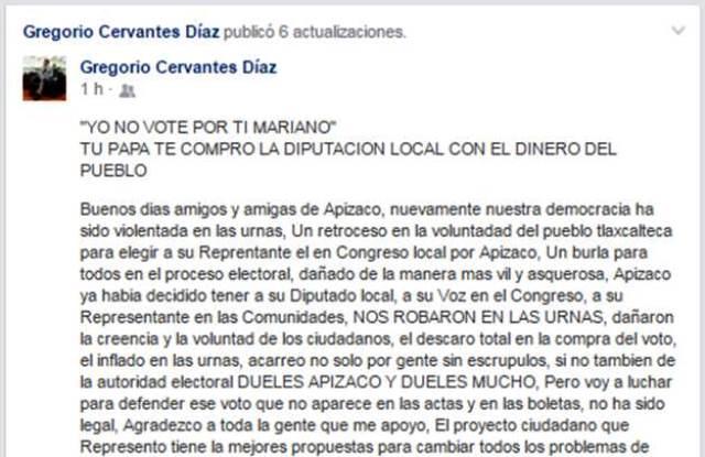 """""""Yo no vote por ti Mariano"""" Gregorio Cervantes Díaz"""