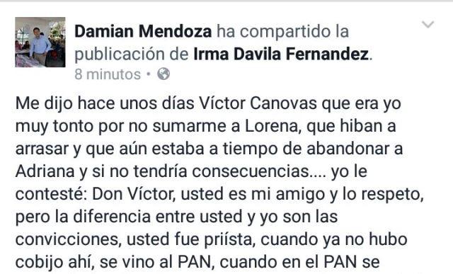 Salen más frustraciones de Mendoza ahora contra Cánovas