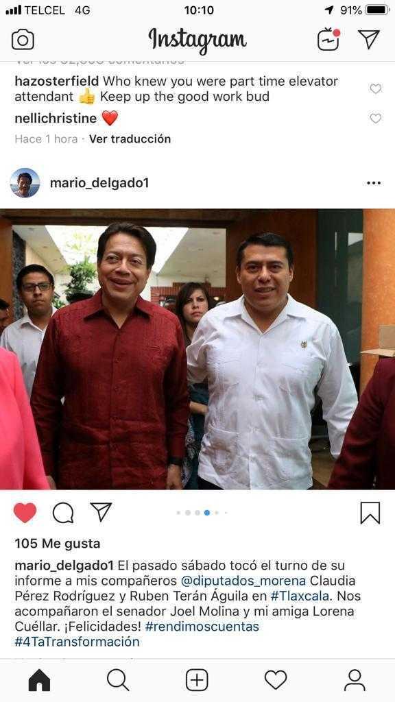 Mario Delgado presume foto en Instagram al lado de Terán