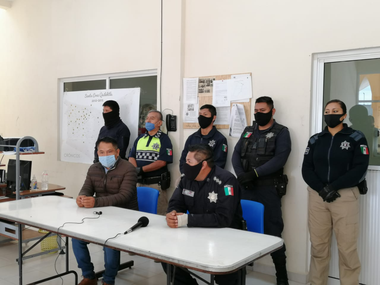 Policía de Quilehtla en operativo conjunto asegura armas y droga
