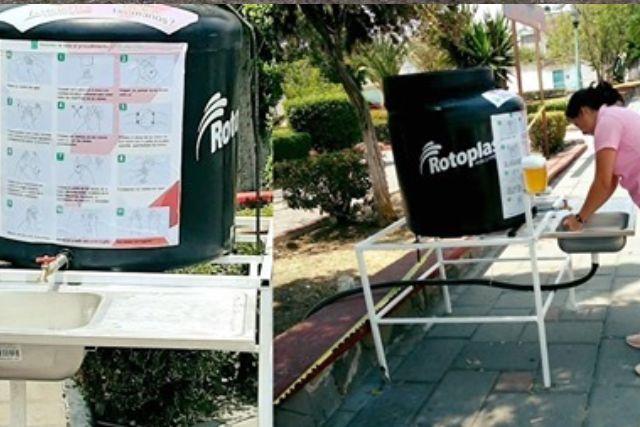 Se suma Ixtacuixtla a la colocación de lavamanos portátiles por el COVID