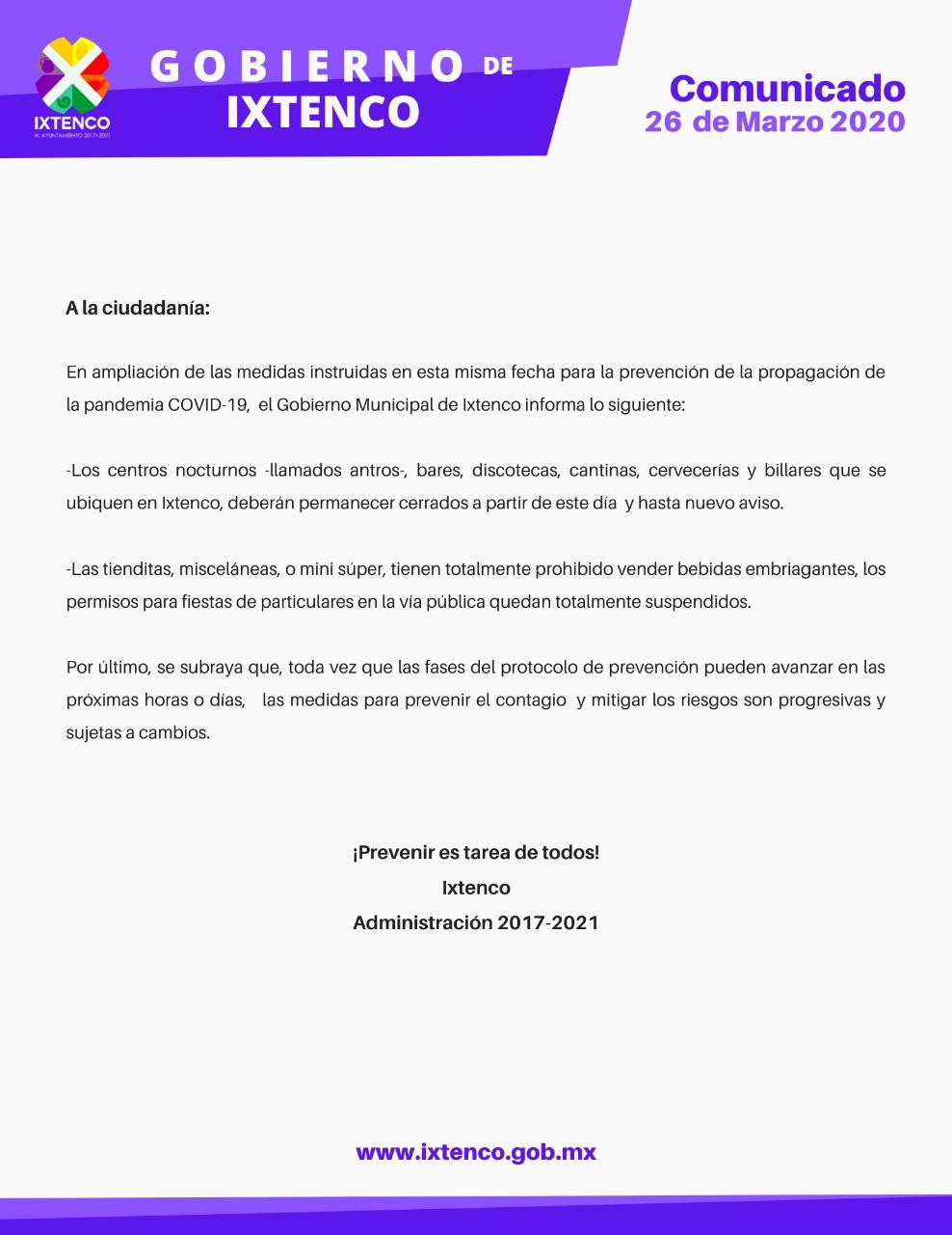 Ayuntamiento de Ixtenco notifica a bares y a salones de fiestas sobre cierre temporal