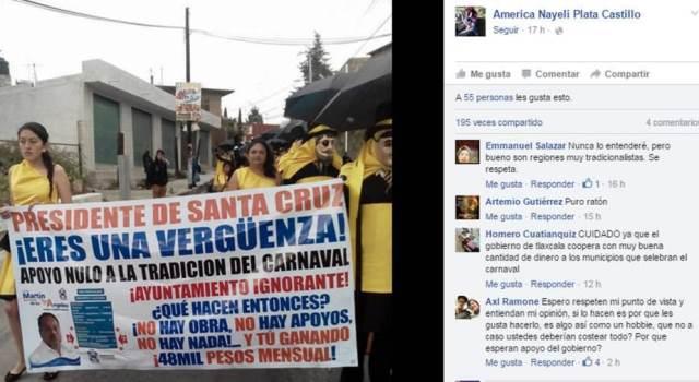Por tacaño exhiben en carnaval a edil panista