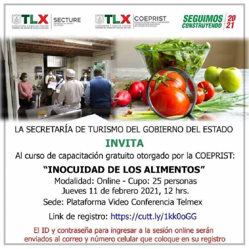 Invitan COEPRIST y SECTURE a capacitación gratuita sobre inocuidad en alimentos