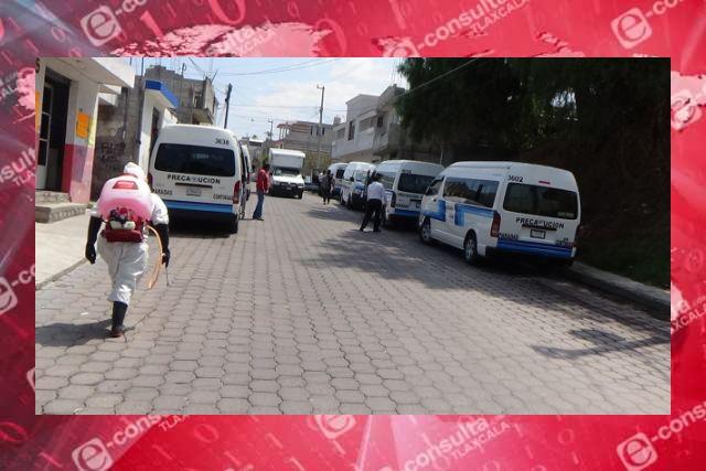 Continúan labores de sanitización en microbuses, calles, parques y edificios de SPM