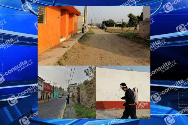 Recorre brigada de sanitización Santa Cruz Tlaxcala y San Lucas Tlacochcalco