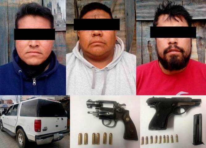 Aseguran a tres poblanos con armas de fuego en Mazatecochco