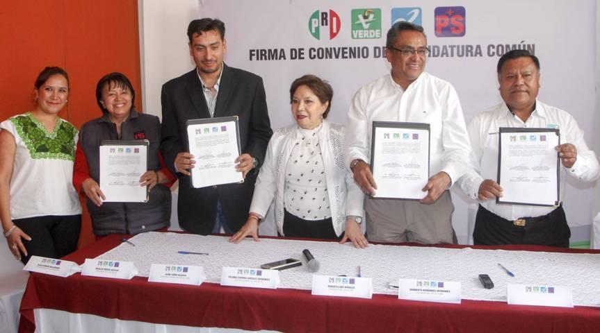 Formalizan candidatura común PRI – PVEM – Nueva Alianza y PS
