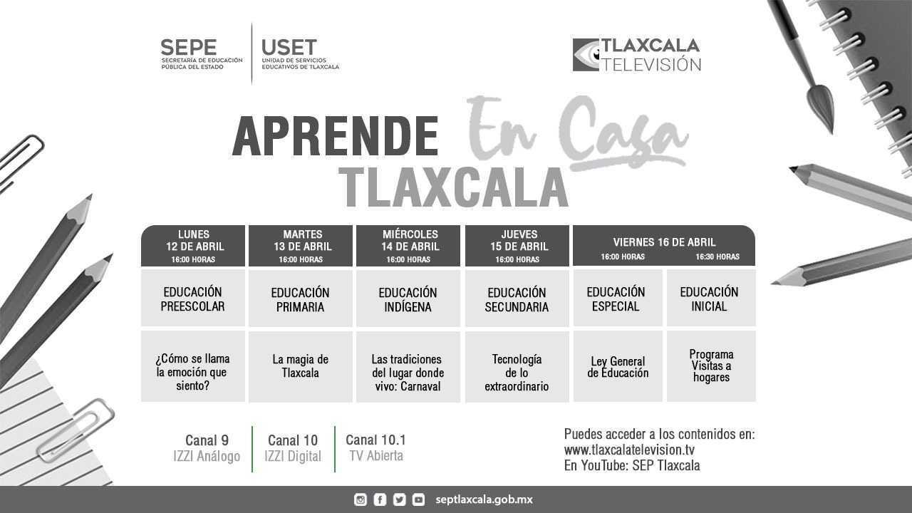 """SEPE presenta barra temática de """"Aprende En Casa Tlaxcala"""" del 12 al 16 de Abril"""