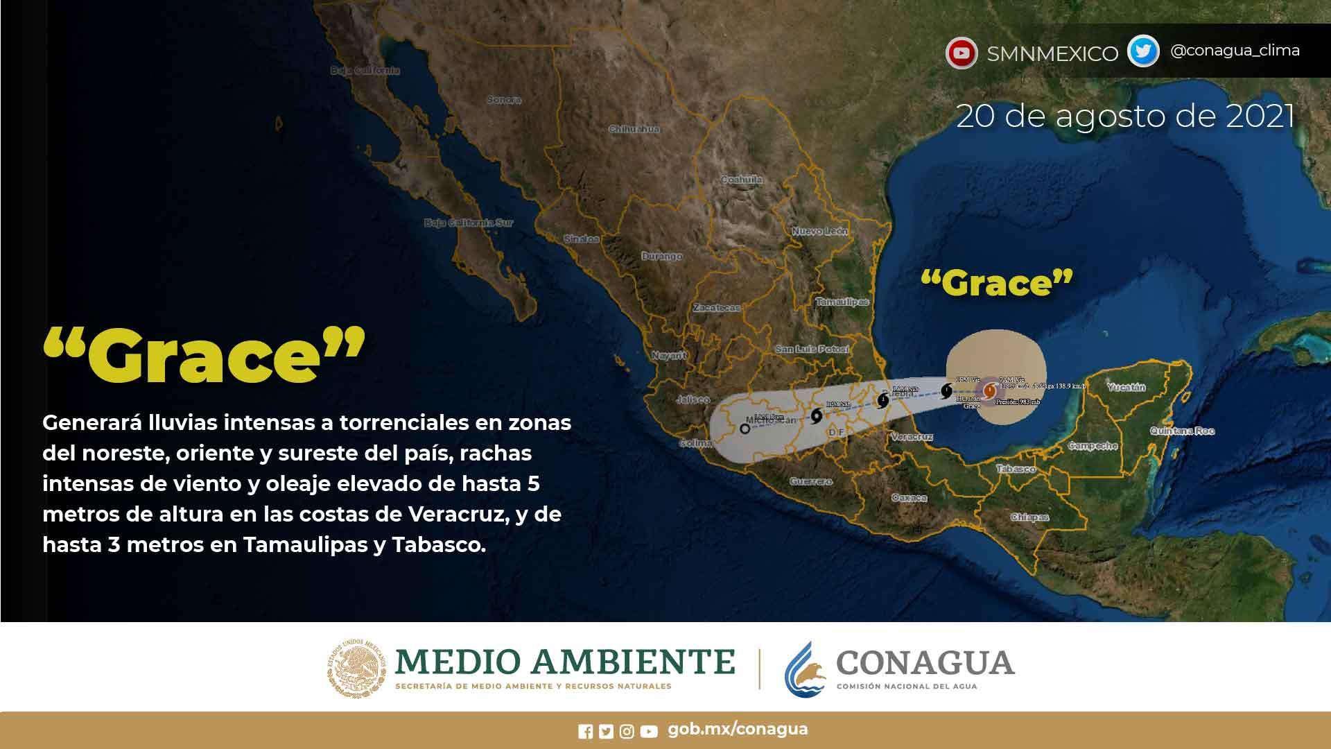 El huracán Grace mantiene su desplazamiento hacia el oeste, al tiempo que se aproxima a las costas de Veracruz