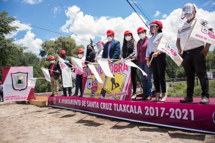 Inicia obra de construcción de puente vehicular LA TRINIDAD en Santa Cruz Tlaxcala