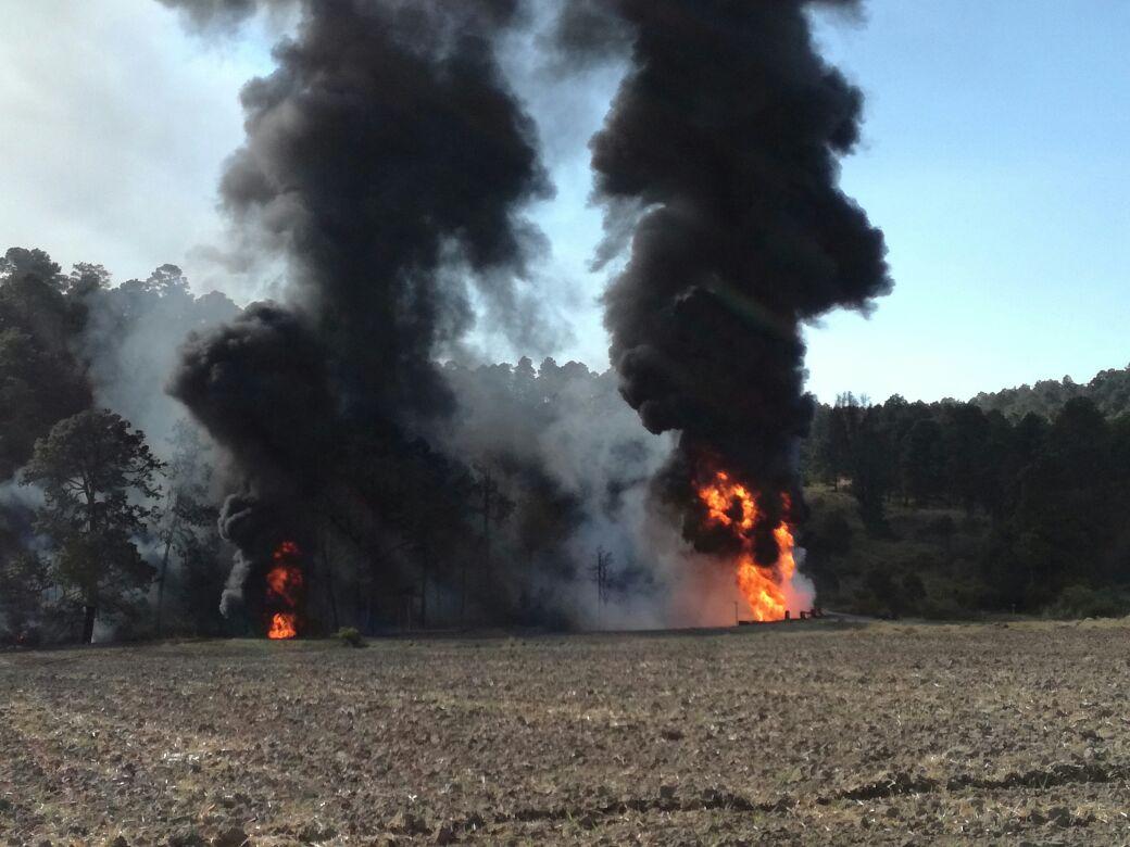 Explosión en ductos de PEMEX en Nanacamilpa