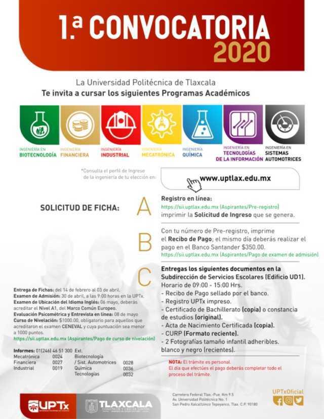 Presenta UPTX convocatoria de inscripción 2020