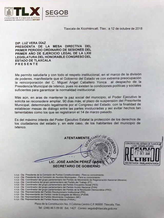 Preocupa a ejecutivo reincorporación del alcalde de Ixtenco