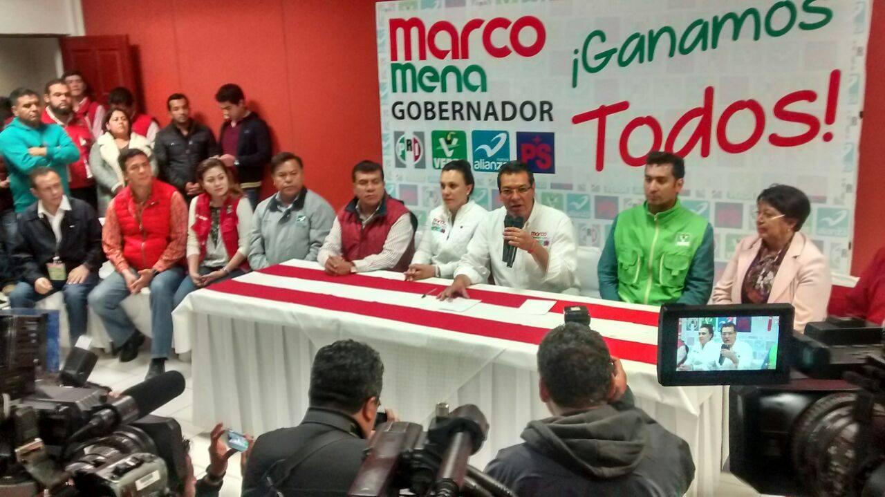 Marco Mena se declara ganador con amplia ventaja, ya prepara festejo