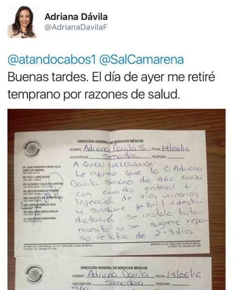 Secuelas de campaña quiebran salud de Adriana Dávila