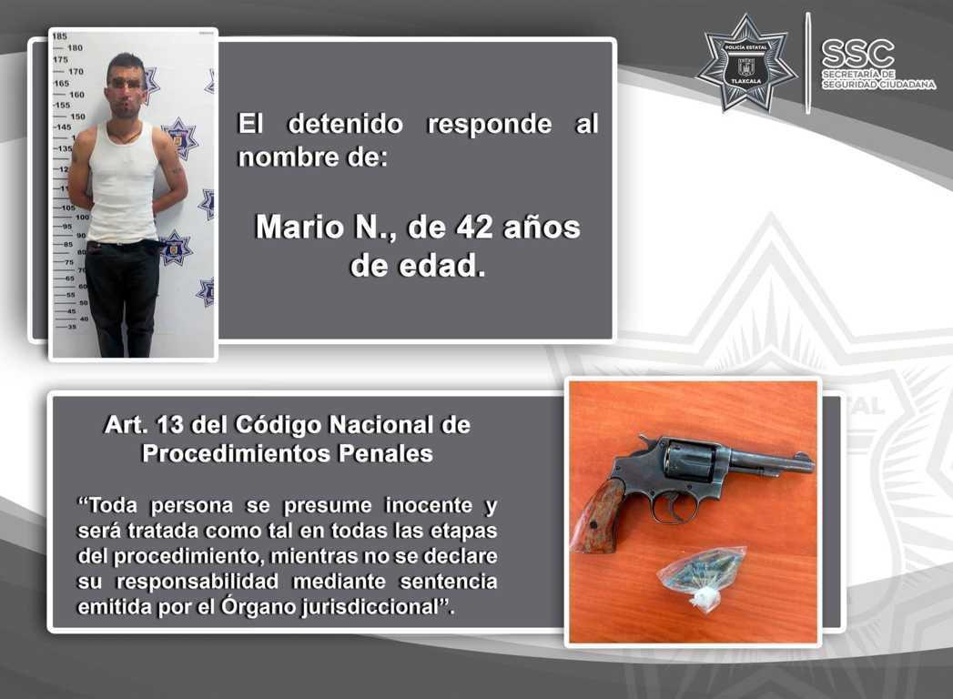 Policía Estatal detiene en Yauhquemehcan a sujeto con arma de fuego