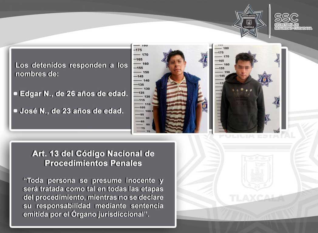Policía Estatal detiene en Tzompantepec a dos sujetos por el probable delito de robo