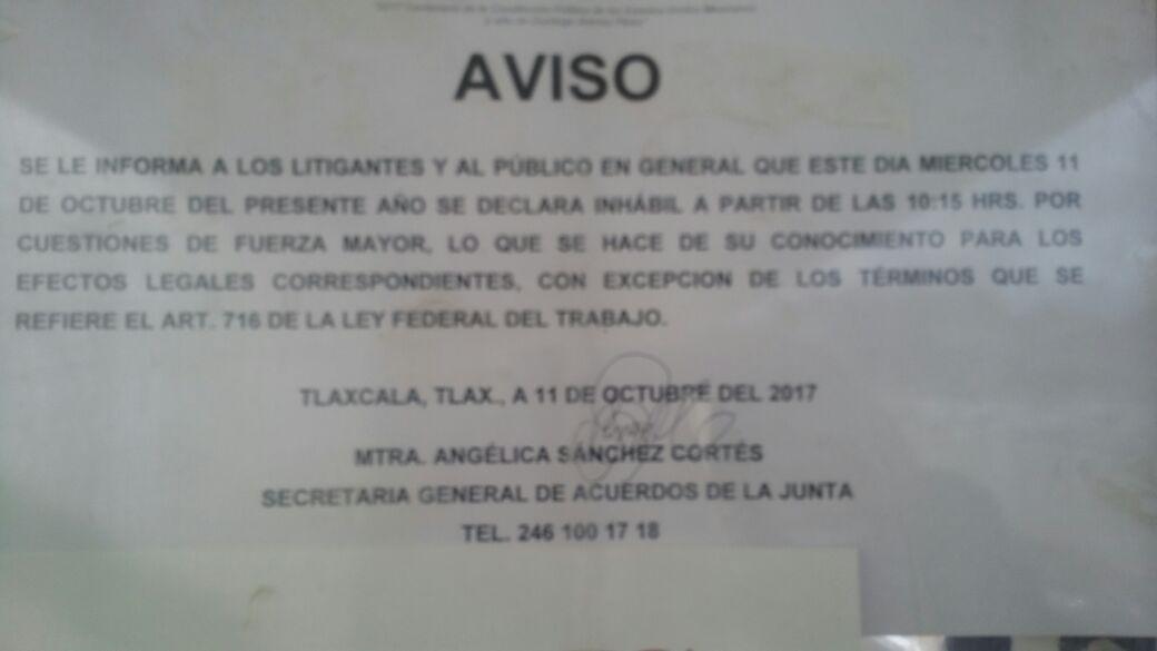 Al abandono dejan Junta de Local Conciliación y Arbitraje