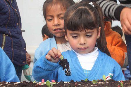 Fortalece autoridad educativa trabajo en huertos escolares