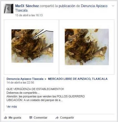 Carne agusanada venden en Pollos Guerrero