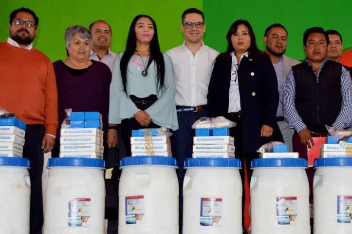 Entrega Coeprist equipo y material para desinfección a comités de agua potable