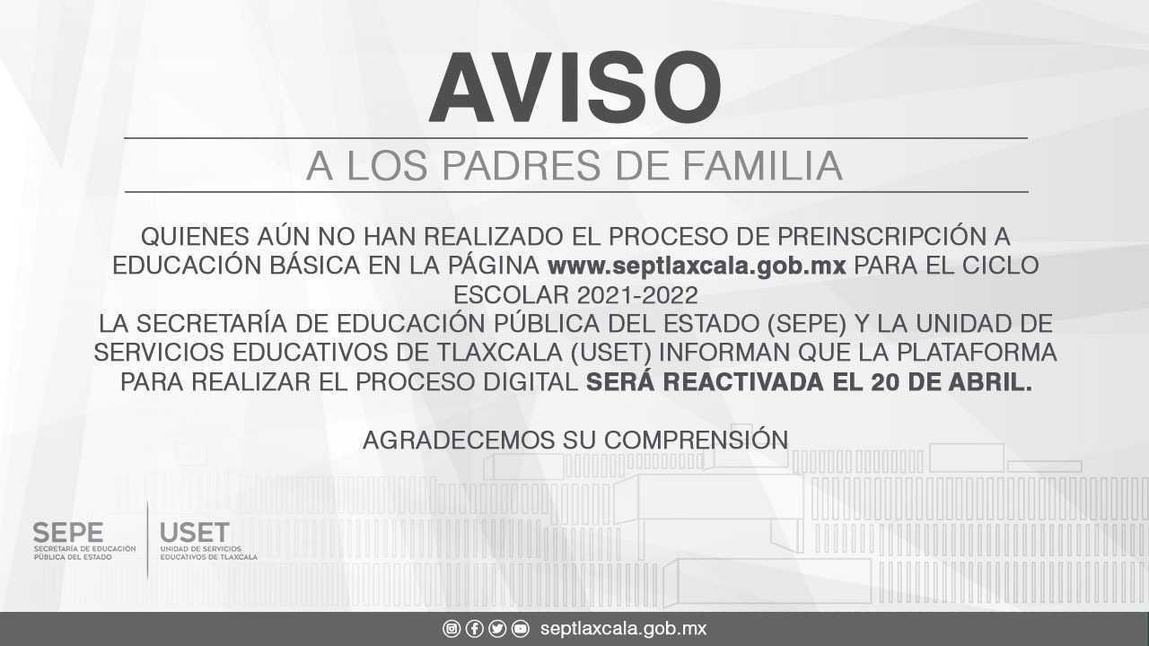 Padres de familia podrán realizar proceso de inscripción a educación básica este 20 de abril: SEPE