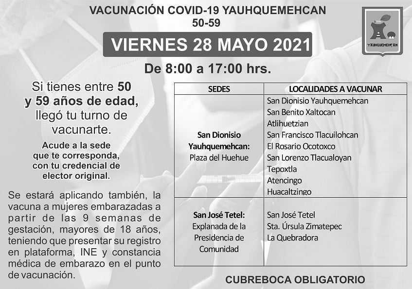 En Yauhquemehcan aplicarán vacuna contra Covid-19 a personas de 50 a 59 años de edad