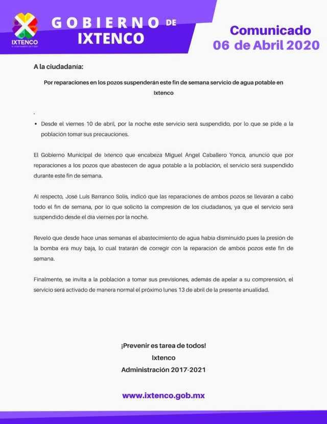 Por reparación en pozos suspenderán servicio de agua potable en Ixtenco