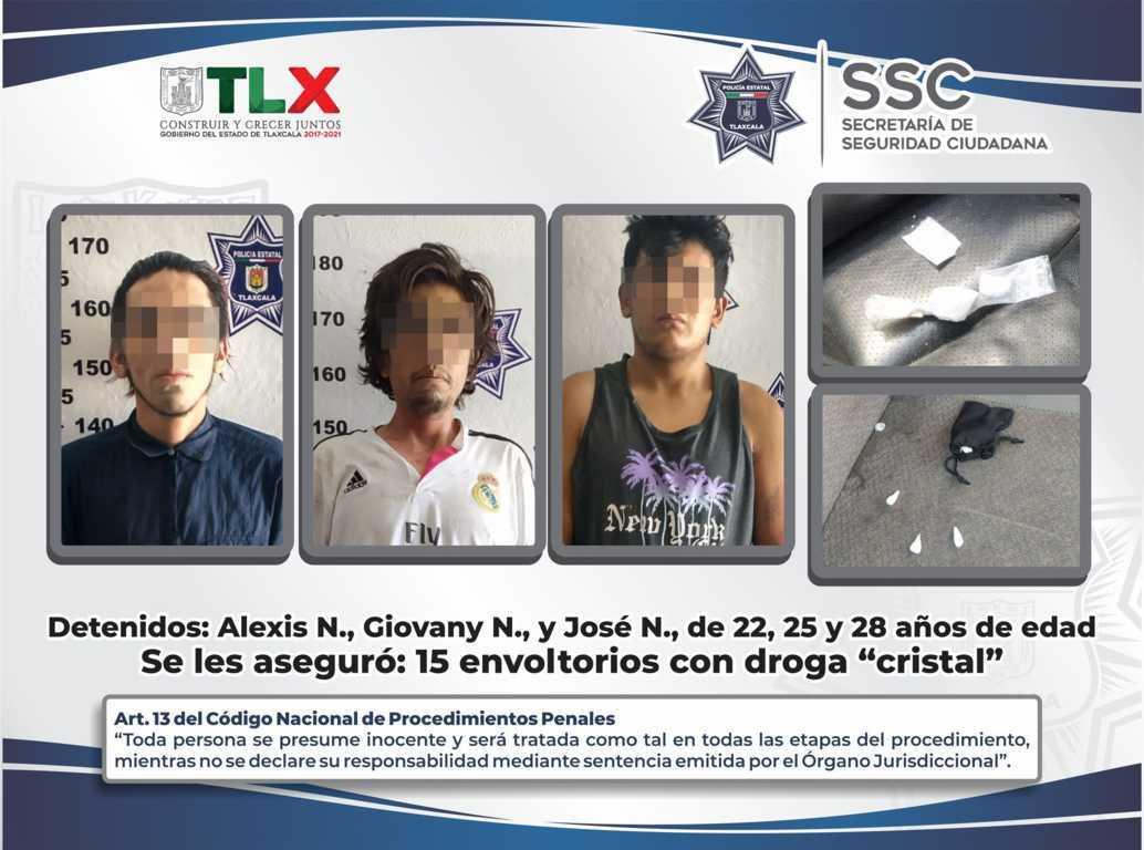 La SSC detiene en tetla a tres personas por posesión de narcóticos