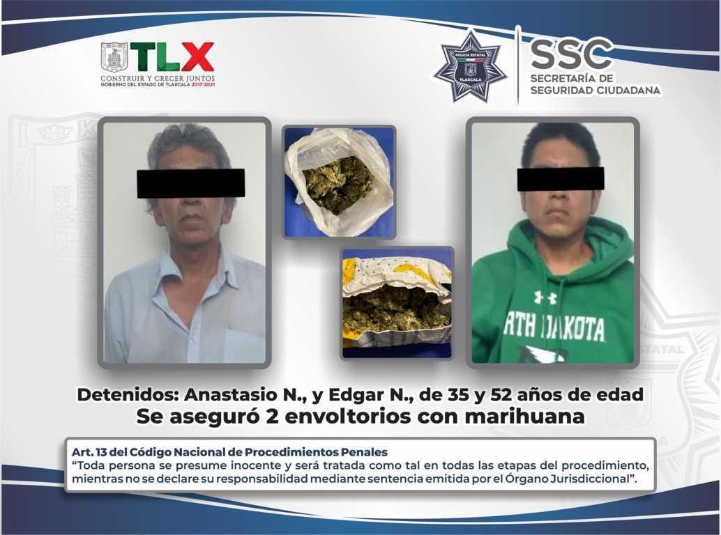 La SSC detiene en Tlaxcala a dos sujetos por posesión de marihuana