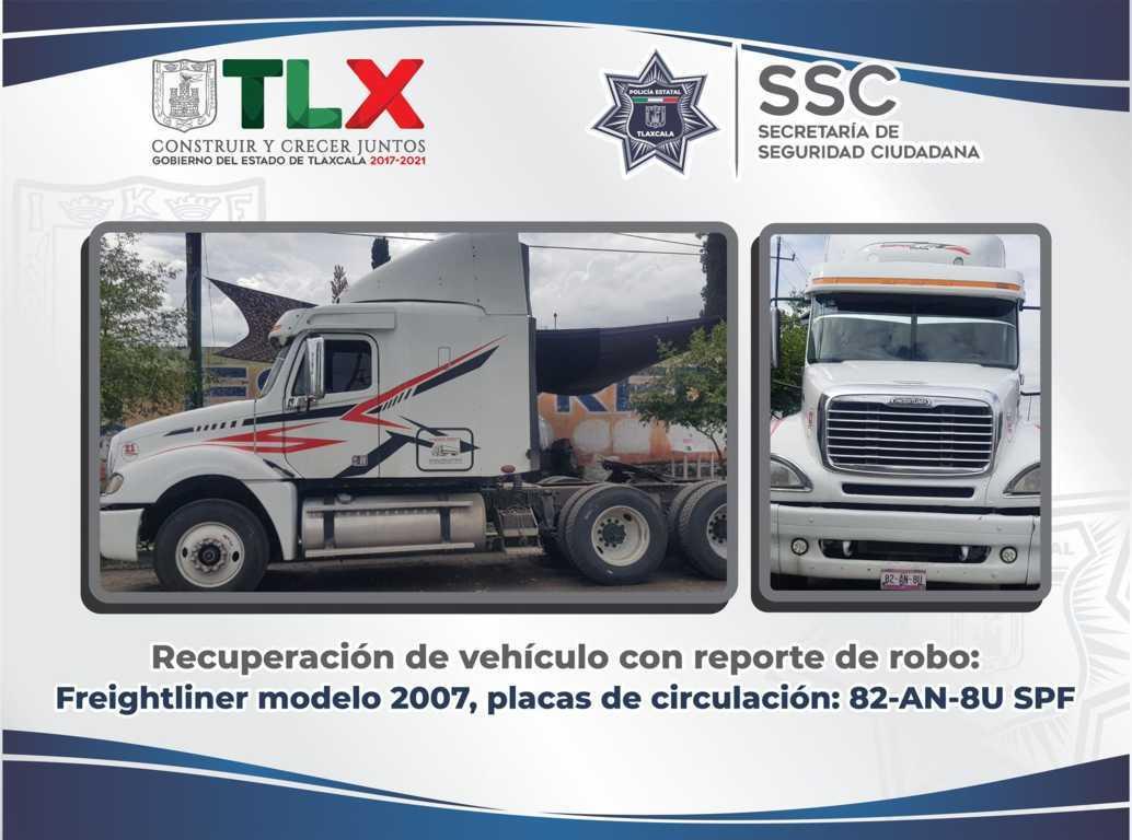 La SSC recupera en Xicohtzinco tractocamión robado