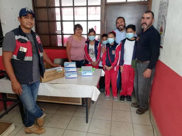Por contingencia volcánica, entrega cubrebocas Gobierno de Xicohtzinco